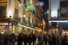 Evening in Seville during Christmas holidays royalty free stock photography