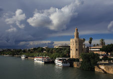 Seville, Andalusia, Spain.Torre del Oro (Golden Tower). Stock Photography