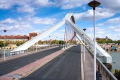 Seville Andalusia, Spanien - Barqueta bro Puente de la Bark arkivfoto
