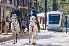 Seville Andalusia, Spanien - mars 27, 2008: polisen med hästen Arkivfoto