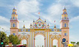 SEVILLE - APRIL 23: An elaborate gate is erected each year durin Stock Photo