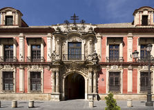 Seville Archbishop Palace. Facade of the Spanish Baroque architectural style Archbishop Palace of Seville, Spain Stock Image