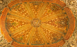 Seville - The baroque cupola over the stairs in church Hospital de los Venerables Sacerdotes Royalty Free Stock Photos