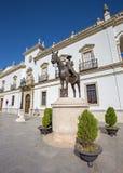 Seville - The baroque facade of house on Paseo de Cristobal Colon and memorial of Maria de las Mercedes de Borbon y Orleans Royalty Free Stock Photography