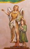 Seville - The baroque fresco of guardian angel  in church Hospital de los Venerables Sacerdotes Stock Image