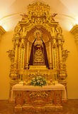 Seville - The baroque side altar of Virgin Mary in the Capilla de la Universidad (Chapel of University). Royalty Free Stock Photos