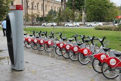 Seville bicycle rental Royalty Free Stock Photography