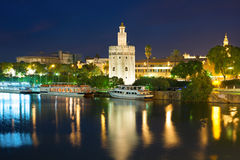 Seville at a black summer night Stock Images