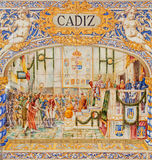 Seville - The Cadiz as one of The tiled 'Province Alcoves' along the walls of the Plaza de Espana Royalty Free Stock Image
