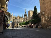 Seville Cathedral with the bell tower Royalty Free Stock Photography