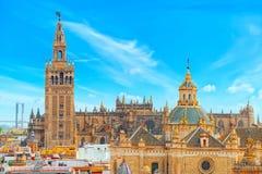 Seville Cathedral Catedral de Santa Maria de la Sede de Sevilla. View from the observation platform Metropol Parasol, locally also known as Las Setas. Spain Stock Image