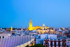 Seville Cathedral at dusk spain Stock Images