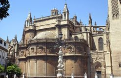 Seville Cathedral facade in Spain. Details of the landmark Seville Cathedral in Andalusia,  Spain, Europe Royalty Free Stock Image
