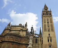 Seville Cathedral and Giralda Tower Stock Images