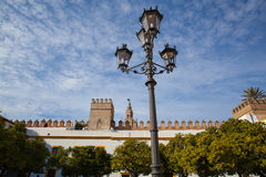 Seville cathedral Giralda tower from Alcazar of Sevilla Andalusi Royalty Free Stock Photo