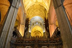 Seville Cathedral Interior ceiling detail royalty free stock images