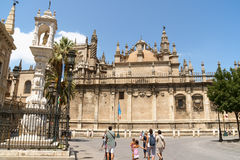 Seville Cathedral and La Giralda belltower Stock Photos