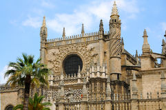 Seville. The cathedral in Seville is the largest temple in the world and was built on the site of the mosque in the 12 century. . Photo was taken in april 2014 Royalty Free Stock Photos