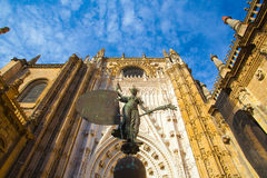 Seville Cathedral at sunset. Spain. Royalty Free Stock Image