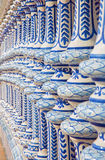 Seville - The ceramic balustrade of the Plaza de Espana. Seville - The ceramic tiled balustrade of the Plaza de Espana Royalty Free Stock Images