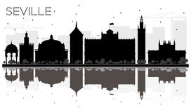Seville City skyline black and white silhouette with reflections Stock Photos