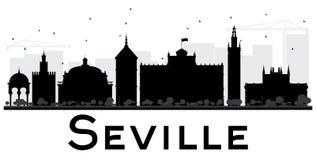 Seville City skyline black and white silhouette. Stock Image