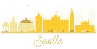 Seville City skyline golden silhouette. Royalty Free Stock Photo