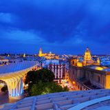 Seville Cityscape, Spain. Night view of Seville from Metropol Parasol on La Encarnacion Square, Andalusia, Spain stock images