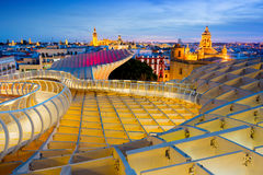 Seville, Spain - February 15, 2017: Cityscape from the top of the Metropol Parasol. This structure, known as `The mushroom`, has b. Seville cityscape from the Royalty Free Stock Images