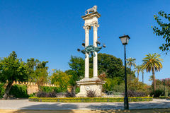 Seville. Column of Columbus. Columbus Monument in Gardens of Murillo in Seville, Andalusia, Spain Royalty Free Stock Images