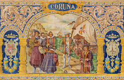 Seville -The Coruna as one of The tiled 'Province Alcoves' along the walls of the Plaza de Espana Stock Photos