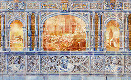 Seville - The dancing Los Seises image as one part of The tiled 'Province Alcoves' along the walls of the Plaza de Espana Stock Photos