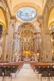 Seville - den barocka kyrkan av El Salvador (Iglesia del Salvador) med det huvudsakliga altaret (1770 - 1778) vid Cayetano de Aco royaltyfri foto