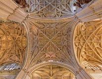 Seville - den centrala gotiska bågen av domkyrkan de Santa Maria de la Sede Arkivbilder