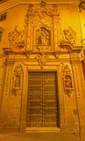 Seville - den huvudsakliga barocka portalen av den kyrkliga Capillaen de San Jose (1716) vid Lucas Valdes royaltyfri foto