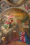 Seville - det neo - barock målarfärg av förklaringen i kyrkliga Capilla Santa Maria de Los Angeles Royaltyfri Foto