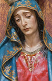 Seville - The detail of cried Virgin Mary statue in church Iglesia de San Roque. Royalty Free Stock Photos