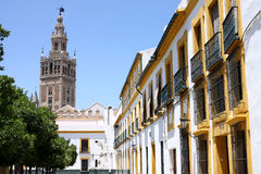 Seville district. La Cruz seville district with the Giralda in the background, Spain Royalty Free Stock Image