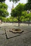 Seville domkyrka och de Giralda sikterna från trädgården av nollan arkivbild