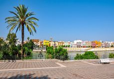 Seville embankment of Guadalquivir river, Spain stock images