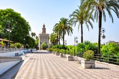Seville embanmkent and Tower of Gold Torre del Oro, Spain stock image