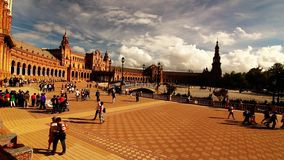 Seville espana square with tourists stock footage