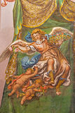 Seville - The fresco of angel with the roses in church Hospital de los Venerables Sacerdotes by Juan de Valdes Leal (1622 - 1690). Royalty Free Stock Images
