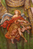 Seville - The fresco of angel with the roses in church Hospital de los Venerables Sacerdotes Royalty Free Stock Images