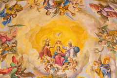 Seville - The fresco of Coronation of Virgin Mary on the ceiling of presbytery of church Basilica de la Macarena Royalty Free Stock Photography