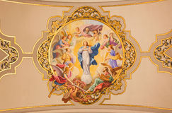 Seville - The fresco Virgin Mary as Immaculate conception on the ceiling in church Basilica de la Macarena. SEVILLE, SPAIN - OCTOBER 29, 2014: The fresco Virgin Stock Photo