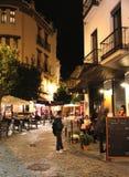 Seville gata på natten Fotografering för Bildbyråer
