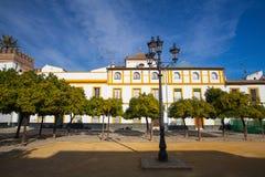 Seville Giralda katedralny wierza od Alcazar Sevilla Andalusi zdjęcie royalty free