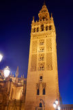Seville Giralda tower sunset in Sevilla Andalusia royalty free stock image