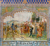 Seville - The Granda as one of The tiled 'Province Alcoves' along the walls of the Plaza de Espana (1920s) by Domingo Prida. Royalty Free Stock Image